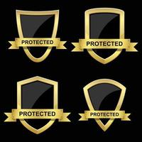 Golden potection shield set vector
