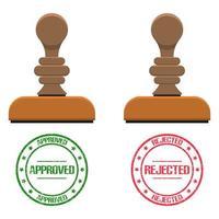 goedgekeurde en afgekeurde stempel en cirkelteken vector