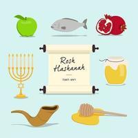 conjunto de iconos de año nuevo de rosh hashaná vector