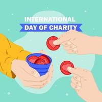 Charity day poster with people giving donations