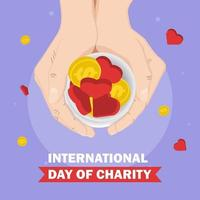 Day of charity with hands holding coins