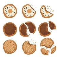 Top view of tasty cookies isolated  vector