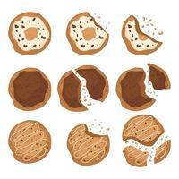 Vista superior de sabrosas galletas aisladas vector