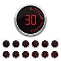 Set of digital timers isolated  vector
