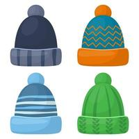 Winter cap set vector