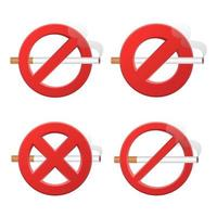 No smoking sign set vector