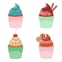 Delicious cupcake set vector