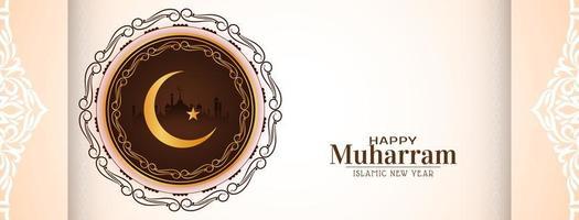 bannière de muharram heureux avec un design décoratif de lune vecteur