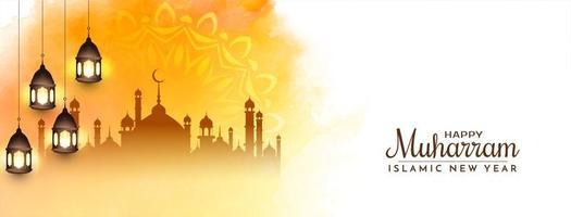diseño de banner feliz muharram amarillo brillante