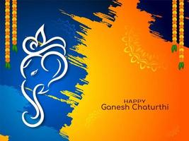 Blue and orange bright Ganesh Chaturthi festival card vector