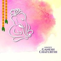 Indian festival Ganesh Chaturthi greeting colorful card vector