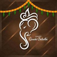 Stylish brown Ganesh Chaturthi festival decorative card vector
