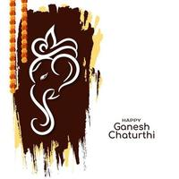 Indian festival Ganesh Chaturthi greeting card vector