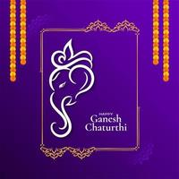Beautiful violet Ganesh Chaturthi festival decorative card vector