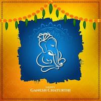 Gold and blue abstract Ganesh Chaturthi religious design vector