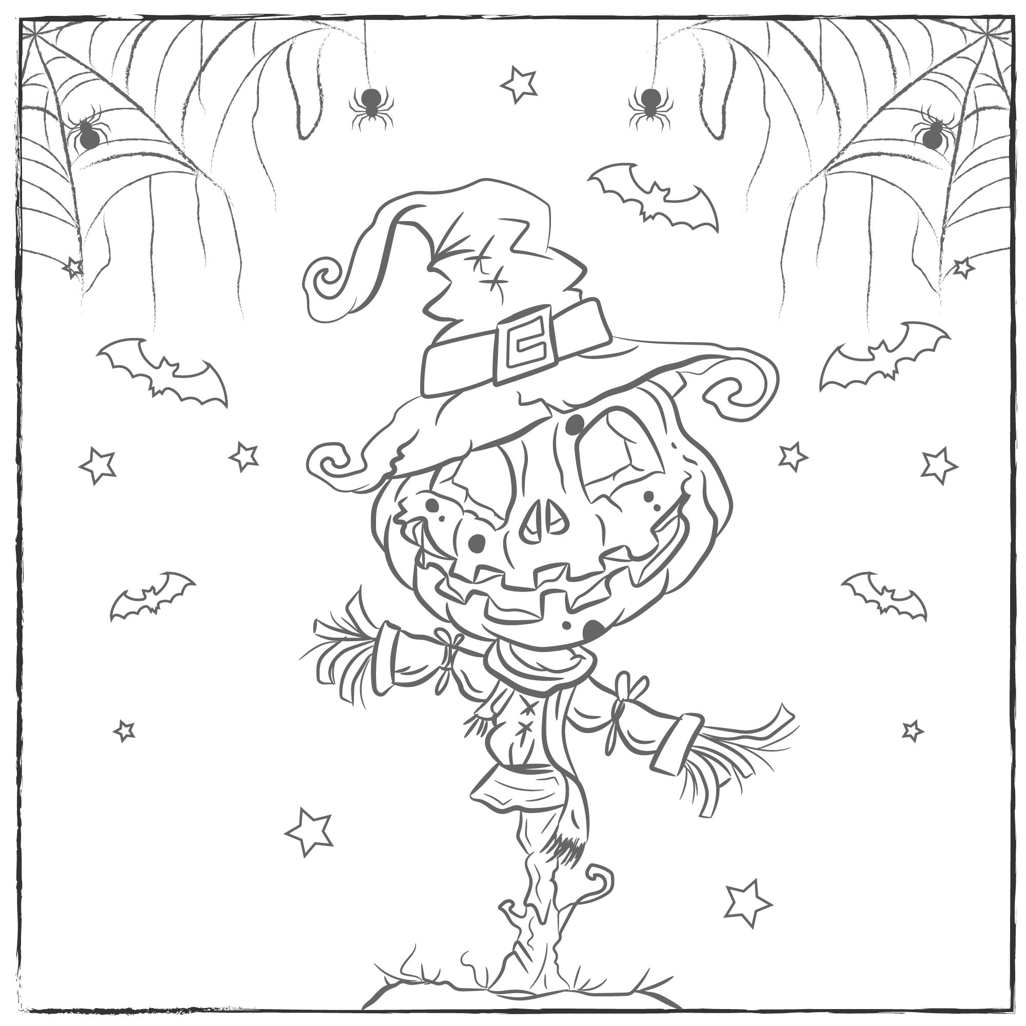 Halloween Pumpkin Scarecrow Coloring Page Download Free Vectors Clipart Graphics Vector Art