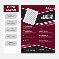 Maroon and black business flyer vector
