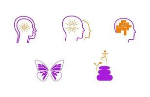 Meditation spiritual coaching head icons set vector