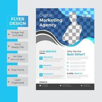 Curved blue and gray header business flyer