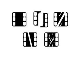Set of film strip icons vector