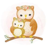 Mommy and baby owl together in watercolor style vector