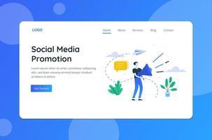 página de destino do conceito de promoção de mídia social