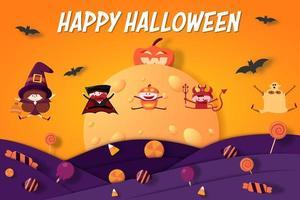 grupo de niños felices saltando en disfraces de halloween vector