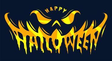 Pumpkin smile Happy Halloween text