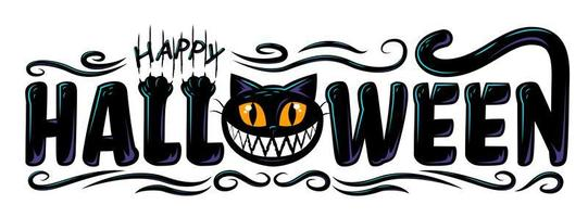 Black cat Happy Halloween text