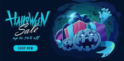 Banner de venta de halloween con calabazas, mano zombie y regalos.