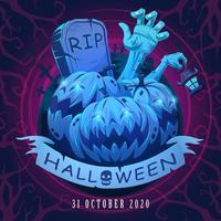 cartel de halloween con calabaza, mano zombie y lápida