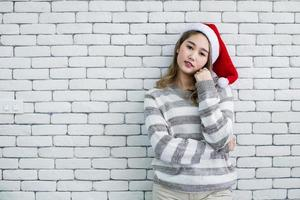 Young woman in holiday accessories