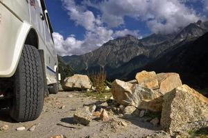 Vehicle near mountain