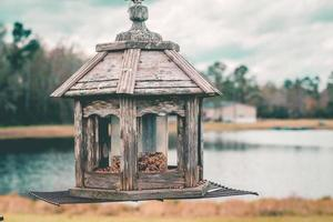 Gray wooden candle lantern