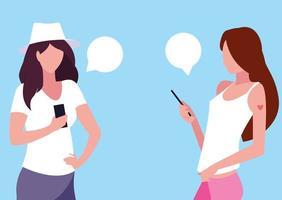 mujeres bonitas jóvenes que usan dispositivos de teléfonos inteligentes vector