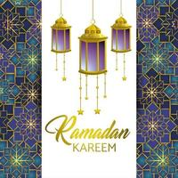 Ramadan greeting card with lamps and stars vector