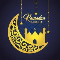 Ramadan greeting card with moon and mosque
