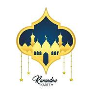 Ramadan greeting card with mosque and hanging stars  vector