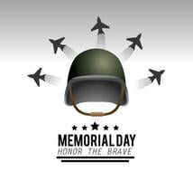 Memorial day greeting card with military helmet and aircrafts