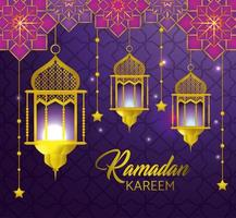 Ramadan greeting card with lamps and hanging stars vector