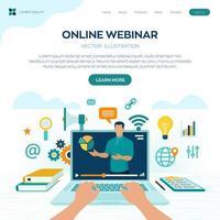 concepto de página de seminario web en línea vector