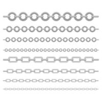 Set of metallic chains  vector
