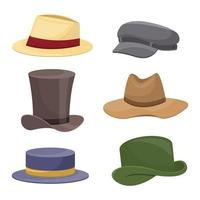 Set of old retro man hat isolated on white background vector