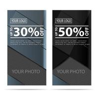 Two vertical discount banners made of ribbons  vector