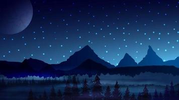 Night blue landscape with mountains