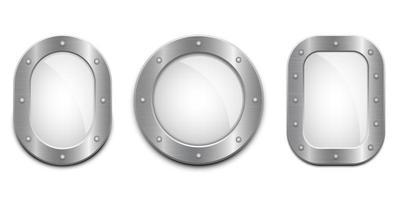 conjunto de ventana de ojo de buey metálico