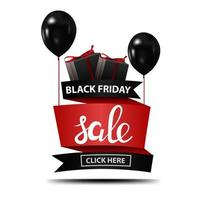 Black Friday sale discount banner with black balloons