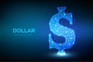 Dollar sign 3D low polygonal abstract concept