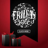 Black Friday sale red square discount banner
