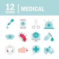 Medical health care line and fill icon pack vector